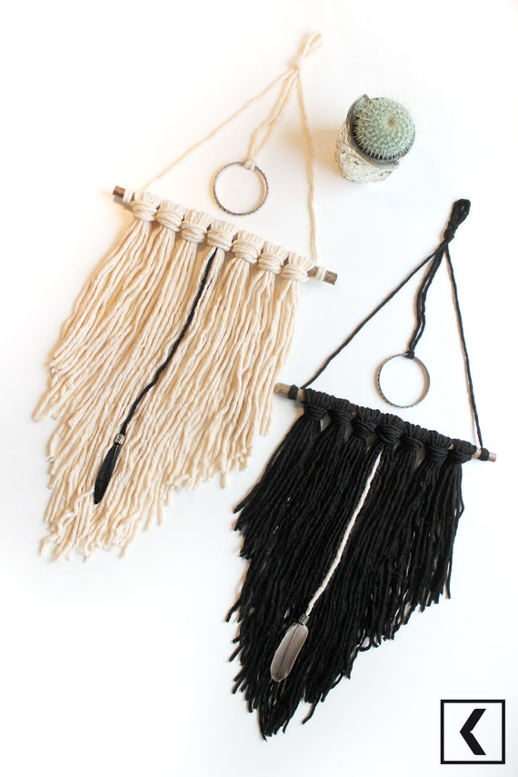Triangular Boho Wood Dreamcatcher / cord beads Wood Dreamcatcher Black Cream Natural branches double Christmas gift idea