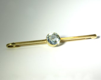 AQUAMARINE 15CT GOLD PIN | Antique handmade 15ct yellow gold Aquamarine pin | Aquamarine brooch | Antique pin | Victorian Brooch | 1800s