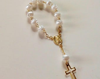 Mini Decenario Communion Favors Rosaries Favor Holly Communion Baptism Ivory and Gold Color