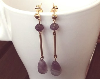 Silver plated gold and Amethyst earrings