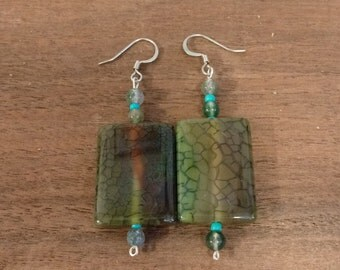 Rectangular beaded Jasper earrings
