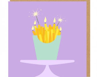 Fries, sparklers and candles Birthday Greeting Card