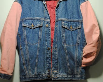 Pink Sleeve Reversible Denim Jacket