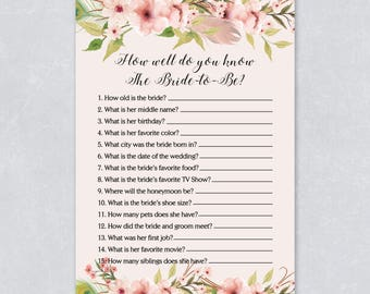 How well do you know the bride Floral bridal shower game, bohemian watercolor, pastel cream color, printable game, INSTANT DOWNLOAD