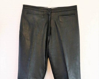 Etam Black Seamed Real Leather Trousers Size UK 16/Retro Leather Trousers/Vintage Leather Trousers/1990s