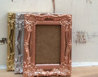 4x6, Ornate Picture Frame, Shabby Chic, French Country, Vintage Style, Metallic, Gold, Silver, Copper, Wedding Table Number Frames