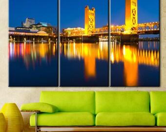 Sacramento canvas, Night city canvas, Living Room Wall Art, Sacramento print, Wall art, Print on canvas, Multi Panel Wall Decor, town canvas