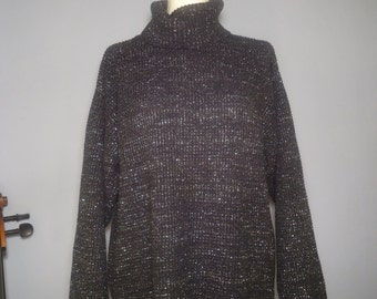 True vintage 90s sweater L oversize Lurex anthracite turtle neck Turtleneck metallic