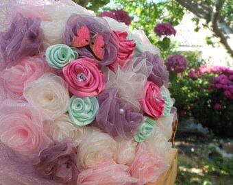 Fabric Bouquet, Wedding bouquet, bridal bouquet,  prom bouquet, fabric flowers, bouquet for events, original bouquet