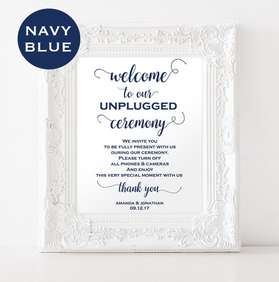 Unplugged wedding sign - Unplugged ceremony sign - Ceremony decor - Outdoor signs - PDF Template - Navy Blue - Downloadable Wedding #WDH0219