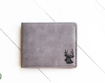 Wallet Personalized Gift, Initial, Monogram Wallet, Deer Head, Gray Wallet, Leather Custom Wallet, Gift for Husband, Rugged, Rustic Gift