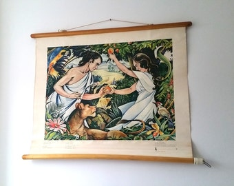 "Vintage religious school print ""The Fall"""