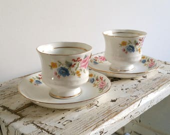 Sweet set of floral cups with saucers