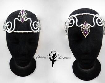 Elvish Diadem, Larp Crown, Silver Tiara, Medieval Headdress, Purple Diadem