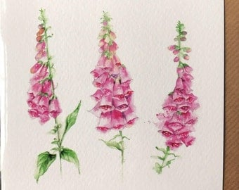Foxgloves Card taken from an Original Watercolour/ Notelets / Birthday Cards / Thank you Cards / Blank Cards