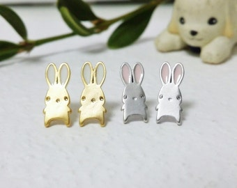 Rabbit Earrings, Bunny Earrings, Rabbit Jewelry, Gold Rabbit Studs, Silver Rabbit Studs, Kids Jewelry, Children Jewelry, Cute Rabbit Studs