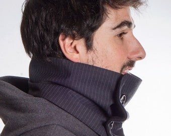 Black striped scarf, man scarf, infinity scarf, chunky scarf, men neck warmer, man cowl, mans gift, fleece scarf, accessory men, two buttons