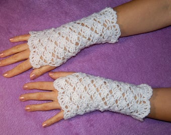 White Spring Mittens Crochet Fingerless Gloves Knit Fashion Boho Fashion Hand Warmers Arm Warmers Mitts Glamour Boho Gloves Texting gloves