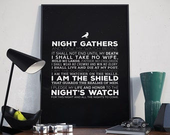 Night's Watch Oath - Poster, Game of Thrones, Jon Snow, Quote, Night Gathers