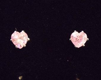 Pink Quartz Heart Shaped Earrings