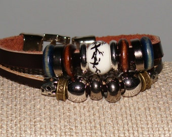 Leather Double Layer Beaded Bracelet
