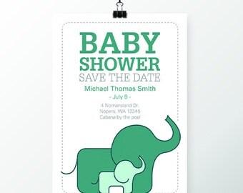 Baby Shower Invitation - Elephant Theme (1 Dozen)
