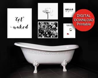 Bathroom Wall Decor Digital Download Black White Red Bathroom Wall Art  Minimalist, Scandinavian Modern Powder Room Art
