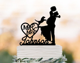 Personalized Wedding Cake topper with dog,  groom lifting bride with mr and mrs in heart  funny cake topper, acrylic cake topper