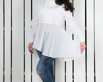 Cotton blouse, white blouse, white top, Henley blouse, cotton top; chiffon top, white shirt, cotton shirt, cotton chiffon top, cotton tunic