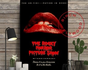 The Rocky Horror Picture Show - Poster on Wood, Tim Curry, Susan Sarandon, Print on Wood, Unique Gift, Wood Block Print, Wood Wall Decor