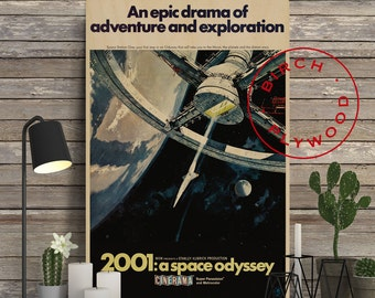 2001: A SPACE ODYSSEY - Poster on Wood, Stanley Kubrick, Dr Strangelove, Clockwork Orange, Movie Poster, Print on Wood, Unique Gift