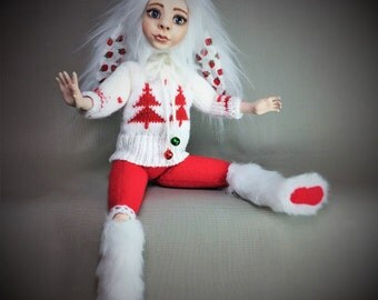 Art Doll,OOAK Art Doll In Bunny Costume, Polymer Clay Doll, Fabric Art Doll, Cloth Art Doll, Hand Made Art Doll, Collectible Art Doll
