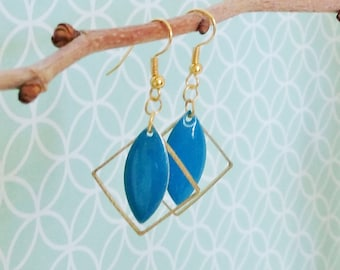Earrings blue enamel King summer