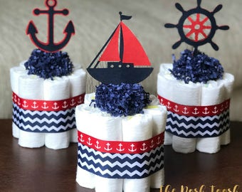 Red Navy Nautical Diaper Cake, Baby Shower Centerpiece, Baby Shower Decor Gift, Ahoy It's A Boy Anchor Nautical Diaper Cake, Set of 3