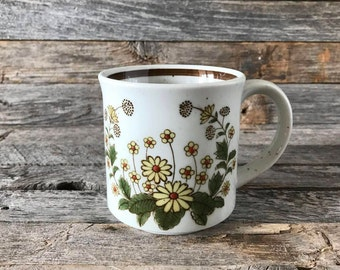Vintage Stoneware Coffee Mug Yellow Flowers, Speckled Stoneware Mug