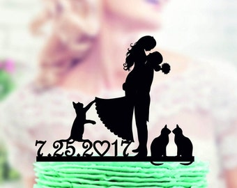 Wedding cake topper with cat, mr and mrs with cat , bride and groom +  our pets cake topper ,  Our pets , wedding cake topper figurine