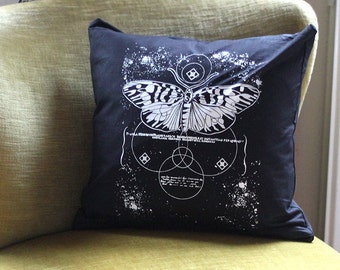 hand-printed Cushion cover occult pressure moth