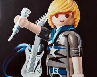 Baby, I want to be a Rock & Roll Star! Oil on canvas. Playmobil art