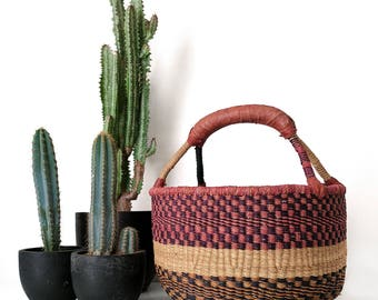 Woven African Basket, Colorful Rattan, Market Basket, Large Market Bag, Handwoven Basket, Woven Storage Basket, Large African Basket, Rattan