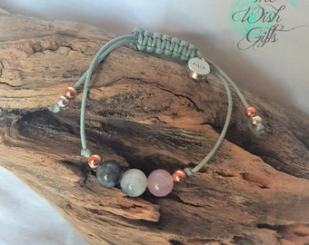 Fertility Bracelet Handmade with Moonstone Rose Quartz and Labradorite, Wish Charm, healing -IVF TTC IUI Gift, Grey