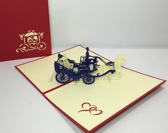 Blue Wedding Carriage - Pop Up Cinderella Horse Carriage 3D Card - Wedding Congratulations Card - Decoration Card - Pop Up Anniversary Card