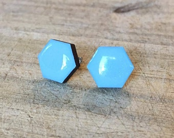 Pastel Blue Hexagon Studs