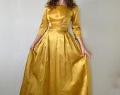Golden Hour Dress | vintage 50's satin yellow party dress