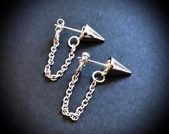 Spike Earrings, Spike Jewellery, Stainless Steel Jewelry, Chain Earrings, Silver Earrings, Punk Jewelry, Punk Earrings, Punk Stud Earrings