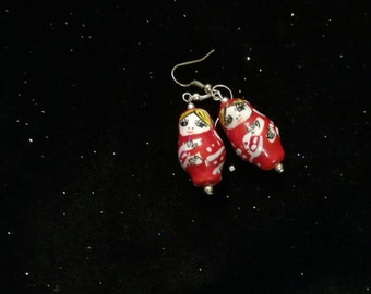 The NESTING DOLLS, painted pottery earrings