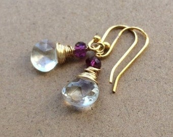 Crystal quartz and garnet wire wrapped briolette dangle earrings