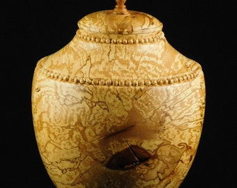 ONE-OF-A-KIND Hand-carved Wooden Urn made from a Beech Tree (Art for Ashes)