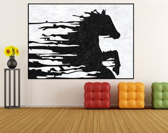 Large Abstract horse Painting canvas wall art, original abstract painting, extra large wall art canvas hand painting black and white  Signed
