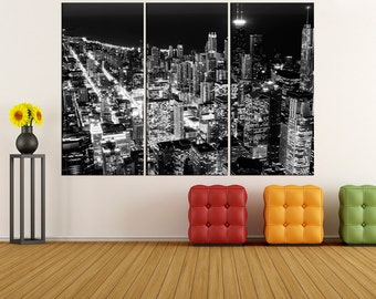 Chicago wall art canvas Print, Chicago  skyline canvas wall art photo print, extra large canvas wall art, black and white art bir41