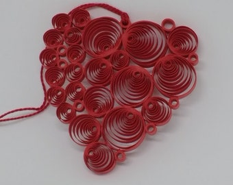 """Quilled """"Circles of Love"""" Heart Valentine Ornament, Package Hanger, Sun Catcher. Includes Gift Package."""